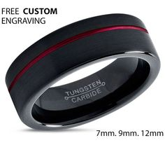 Tungsten Ring Mens Black Red Wedding Band by BellyssaJewelry