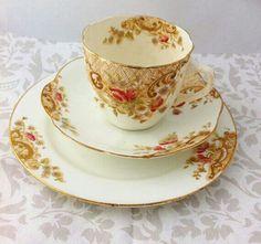 Edwardian handpainted Tea Trio
