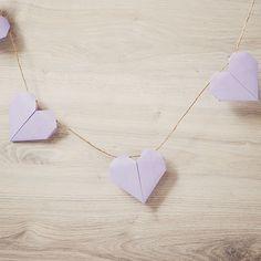 Origami hartjes slinger lila