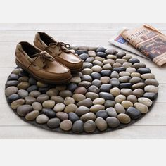"""Round Beach Stone Doormat Brown  by Design Ideas, 61% off (""""Durable, subtle and practical for kicking the dirt off your shoes, the Beach Stone Doormat is ideal for the front door, backdoor and any other entrances where you're compelled to add an extra home accent."""")"""