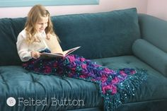 Mermaid Blanket | Felted Button -- Design-Wars Mini-Challenge using Red Heart Swanky Yarn