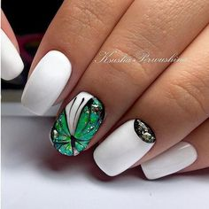# White W/Emerald Butterfly Nail Creative Nail Designs, Winter Nail Designs, Nail Polish Designs, Creative Nails, Nail Art Designs, Butterfly Nail Designs, Butterfly Nail Art, Love Nails, Pretty Nails