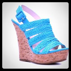 """NWOT Ocean Blue Leather Wedges De Blossom  NWOT De Blossom braided leather strap wedges!  Beautiful ocean blue color  Cork bottoms  5"""" high & very comfortable & light!... Not a heavy shoe!  Never worn except to try on!  Size 8  No imperfections, marks, scuffs, etc  Adjustable strap  Great pop of color!  From a smoke free home!  PP De Blossom Collection  Shoes Wedges"""