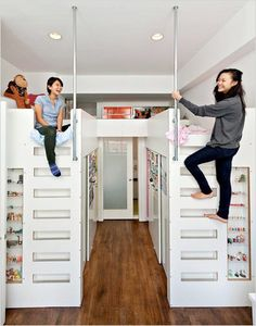 lovinglifeandlilly:  closets below the beds — PERFECT for kids, and I'm surprised no one has thought of this for dorms yet…  My brother had a loft bed with a chest of drawers underneath as part of the support. The lower bed came out perpendicular to the top bed. The ladder was on the end and to the right of it was a little closet. Underneath the top bed but closer to the back wall there were some little shelves where my brother could put things. I don't know if they still make that type o…