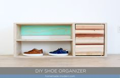 This DIY Shoe Cabinet is made from wood scraps and a painted back panel. Full instructions can be found at HomeDepot.com