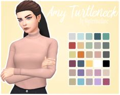 """mysteriousdane: """" Amy Turtleneck Another shirt? Yes - but for ladies this time :^) I saw the turtleneck on one of the new outfits and I knew I had to turn it into a top… obviously tucked in, too! So here it is, a frankenmesh of 3 EA meshes. Sims 4 Mm Cc, Sims Four, Sims 1, Maxis, Sims4 Clothes, Play Sims, New Mods, Sims Games, Sims 4 Cas"""