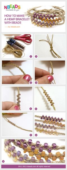 how to make a hemp bracelet with beads