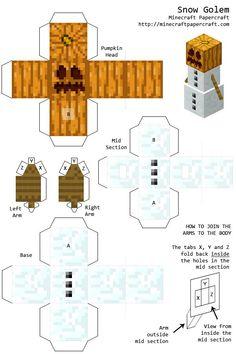 minecraft paper cutouts | Image - Snowgolem.png - Minecraft Papercraft Wiki | Minecraft-Andy | Pinterest | Papercraft, Craft and Birthdays