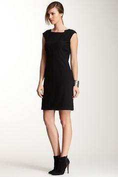 Cap Sleeve Pleated Dress-basic little black dress!