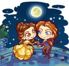 Chibi Commission: The Beauty and the Prince by Blatterbury.deviantart.com on @DeviantArt