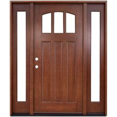 Steves & Sons 64 in. x 80 in. Craftsman 3 Lite Arch Stained Mahogany Wood Prehung Front Door with Sidelites and Transom at The Home Depot - Mobile Entry Door With Sidelights, Wood Entry Doors, Wooden Doors, Barn Doors, Entrance Doors, Door Entry, Main Entrance, Sliding Doors, Craftsman Front Doors