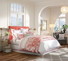 Coral is so in trend this summer! An easy way to implement it in your home is through bedding