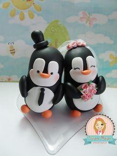 Casal de Pinguim para enfeite de bolo