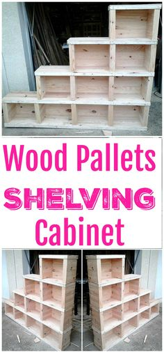 these creative and fresh wooden #pallets ideas with help you to fulfill your desires. These pallet ideas will make you a creative person!Wood Pallets Shelving Cabinet