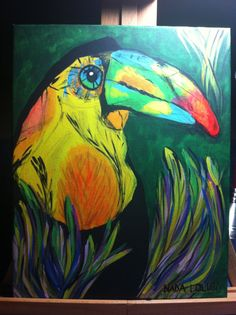 11x14 Rainforest Toucan Canvas Painting by SpecksofFolly on Etsy, $55.00