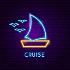 Cruise neon label vector image on VectorStock Custom Neon Signs, Led Neon Signs, Instagram Cartoon, Instagram Story, Boat Icon, Funny Emoji Faces, Real Estate Icons, Wallpaper Iphone Neon, Cruise Boat