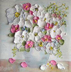"""Oil Painting impasto canvas painting """"Vintage Soft"""" Palette Knife Painting, Mothers Day, Wedding,"""