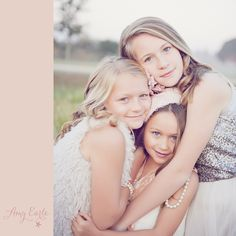 Sisters! Gorgeous ideas for vintage stylized photography sessions. Sunrise session, amazing light. Love this pose with all of them close together!