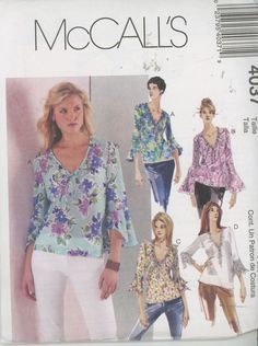 McCalls 4037 Women's blouse Several Variations Size XS, Sm, M - UNCUT - Sewing Patterns