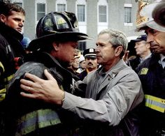 President Bush comforts a FDNY captain who lost his son in one of the towers that collapsed. I don't care what your politics are. This is heartwarming.