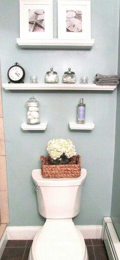 Gray-teal paint for beige tiled bathroom