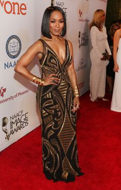 Angela Bassett attends the 46th NAACP Image Awards presented by TV One at Pasadena Civic Auditorium on February 6, 2015