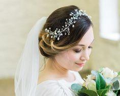 Silver Freshwater Pearl and Crystal Hair Vine, Tabitha Rustic Wedding Inspiration, Sparkle Wedding, Long Braids, Super Long Hair, Hair Vine, How To Make Hair, Fashion Advice, Ear Piercings, Headpiece