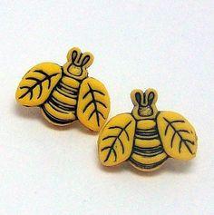 Honey Bee Earrings. $4.00, via Etsy.