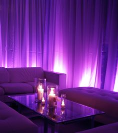 Purple Up-Lighting Around the Perimeter