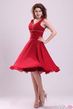 Red A-line V-neck Chiffon Short Bridesmaid Dress - Wedding Party Dresses - CDdress.com