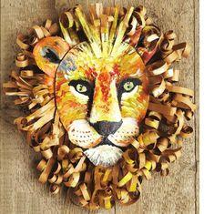 African Masks, African Art, African Crafts, Lion King Costume, Cardboard Mask, Lion King Jr, Lion Mask, Animal Masks, Animal Crafts