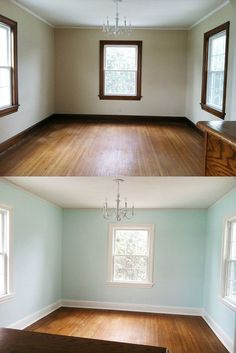 We Painted Our Trim White Painting Wood Trim Painting Trim Some People Cringe At The Thought Of Painting Wood But Look At Https Encrypted Gstatic Com Images Q Tbn…Read more of Painting Dark Trim White Stained Wood Trim, Dark Wood Trim, Paint Stained Wood, Natural Wood Trim, Wooden Trim, Home Renovation, Home Remodeling, Kitchen Renovations, Painting Wood Trim