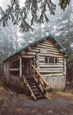 Something like this will be my happy place one day! #LogHouses Small Log Cabin, Little Cabin, Log Cabin Homes, Log Cabins, Rustic Cabins, Cabins In The Woods, House In The Woods, Forest House, Woodland House