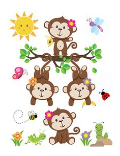 MONKEY NURSERY DECAL Baby Girl Wall Art Mural Stickers Decor Safari Jungle Animal Room Pink Shower Gift Decorations Hanging Swinging Monkeys #decampstudios