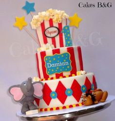 Carnival themed cake and cupcakes