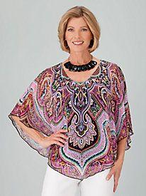 BoHo Plus-Size Tops:  Print Chiffon Poncho Top, One Size Plus | ElegantPlus.com Editor's Pick