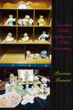 I have a collection of cherished teddies, luckily I found a display case... Cool! ❤️ Also one by one through high end thrift store hopping, I'd able to collect a lot of retired vintage Precious Moments!