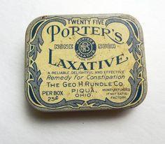 Vintage Porter's Laxative Metal Tin 1930s Antique Medicine Collectible   TheAlteredCreative - Collectibles on ArtFire