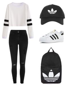 """Monochromic adidas"" by rosaline-agnes-suryawan on Polyvore featuring Topshop, adidas and River Island"