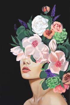 Sally K - Emma - Original Pop Realistic Floral Abstraction Mode Collage, Art Beat, Realistic Paintings, Portrait Art, New Art, Amazing Art, Art Projects, Art Drawings, Canvas Art