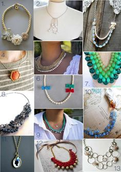 13 DIY NECKLACE Tutorials- great gift ideas THIS LINKS TO A LIST OF 50 DIY PROJECTS FOR NECKLACES, BRACELETS & EARRINGS