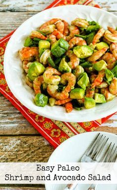 Easy Paleo Shrimp and Avocado Salad found on KalynsKitchen.com Made this 4/2016: AWESOMELY EXCELLENT! Keeper!