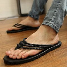 Quality Summer male sandals casual leather sandals rivet flip-flop sandals fashion sandals with free worldwide shipping on AliExpress Mobile Fashion Slippers, Fashion Sandals, Bare Men, Barefoot Men, Mens Slippers, Black Slippers, Leather Slippers For Men, Mens Flip Flops, Mens Leather Flip Flops