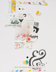 #Papercraft #scrapbook #layout. hello happy by 3littleks at @studio_calico