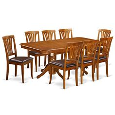 East West Furniture NAAV9SBRLC 9Piece Formal Dining Table Set *** Want additional info? Click on the image.