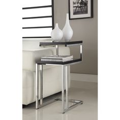 Black Finish Chrome Chair Side End Snack Table - Overstock™ Shopping - Great Deals on Coffee, Sofa & End Tables