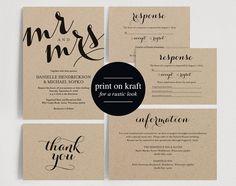 Wedding Invitation Printable Template - Wedding Invitation Editable Template - DIY Printable PDF Instant Download - Kraft #BPB133