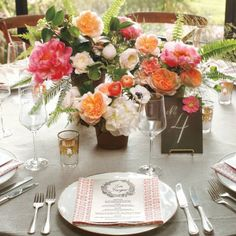 Groupings of peonies, anemones, ranunculus, roses, and lots of leafy greens added tropical color to the reception. Floral Centerpieces, Wedding Centerpieces, Wedding Decorations, Table Decorations, Wedding Tables, Wedding Mandap, Reception Table, Wedding Receptions, Table Centerpieces