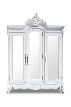 Abigail 3 Door Mirrored Armoire - White