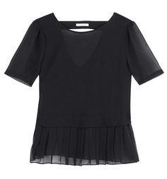 Pleated voile top black - Promod